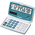 Clearly-laid out pocket calculators with dual leaf and large display | SL-100NC