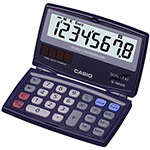 Clearly-laid out pocket calculators with dual leaf and large display | SL-100VER